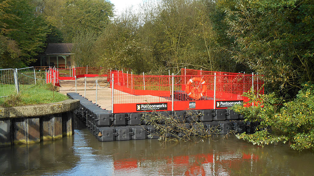 This impressive pontoon is needed to repair the river wall
